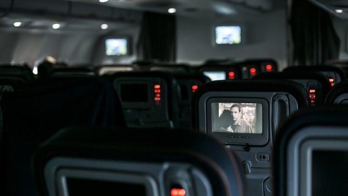 A l'intérieur d'un avion.